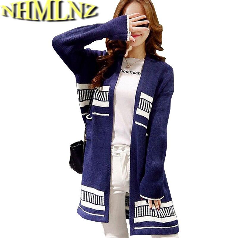 631625bcf Nuevo estilo coreano moda mujer otoño suéter elegante cardigan raya tejer  suéter grande flojo Delgado yardas suéter largo g2052