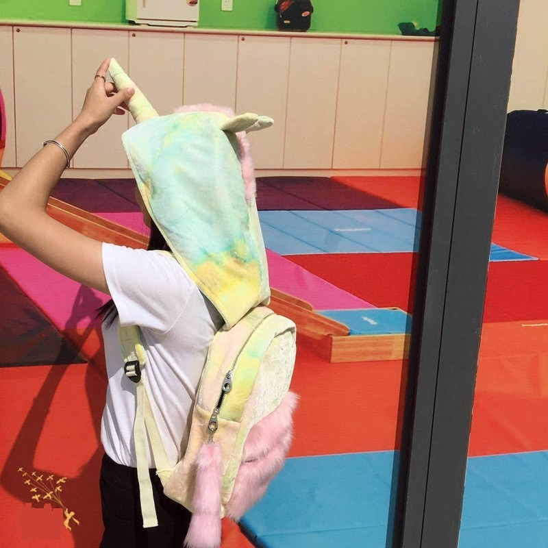 Cute Hooded Backpacks Removable Colorful Tie-Dye Unicorn-Shaped Cap Laser School Bags For Girls рюкзаки zipit рюкзак shell backpacks