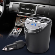цена на New Car Charger for iPhone Mobile Phone Handsfree FM Transmitter Bluetooth Car Kit LCD MP3 Player Dual USB Car Phone Charger