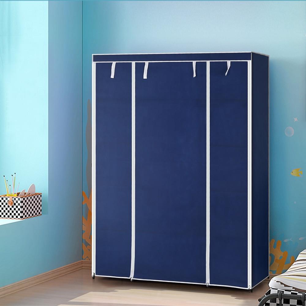 IKayaa Fabric Closet Storage Organizer Roll Up Clothing Wardrobe Cabinet  Clothes Hanger Rack 13 Storage Shelves