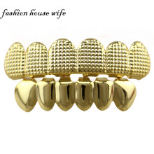 Hiphop Gold Lattice Shape Teeth Grills Top & Bottom Grills Set Custom Tooth Grills  Halloween Cosplay Teeth Caps Jewelry NL0025