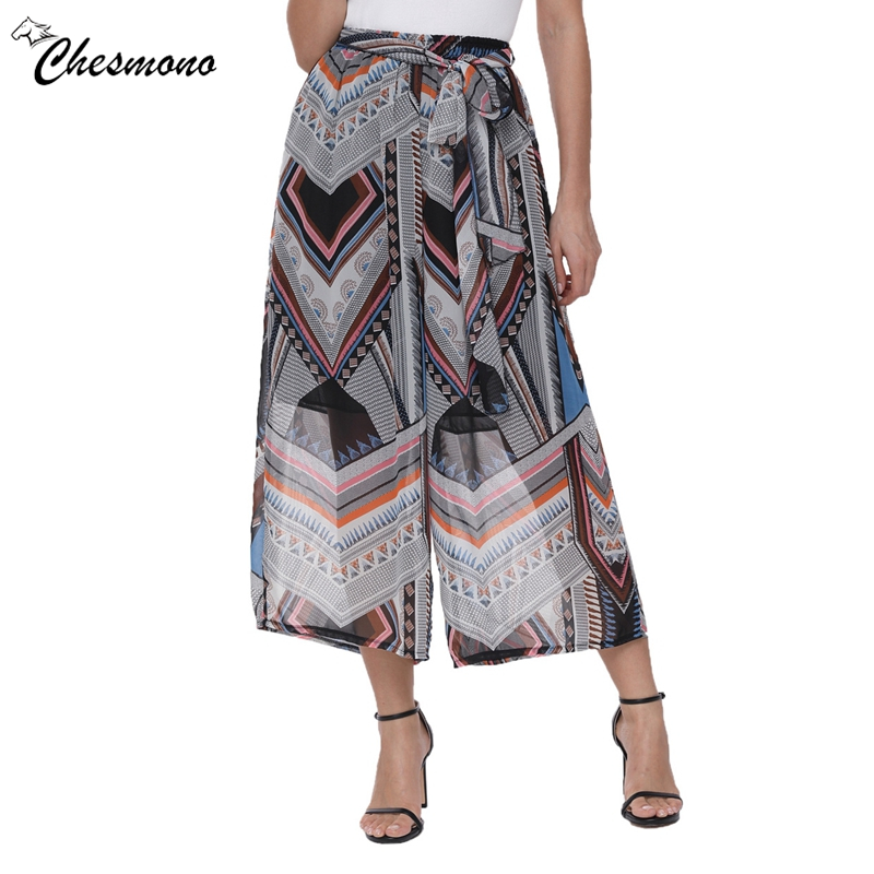 Women Spring Summer casual Personality Ethnic Patchwork Casual Loose Floral Print Bow Chiffon Irregular pattern Wide Leg Pants