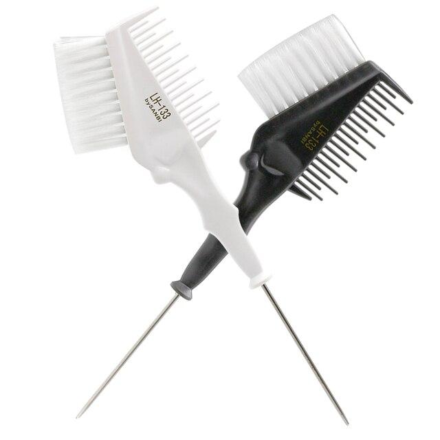 Pro 1 pedazo de Metal la punta de la cola del cabello peine de doble uso con pelo de Nylon suave de tinte de pelo cepillo para peluquería herramienta de peluquería
