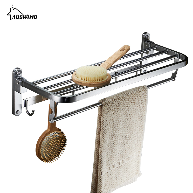 AUSWIND Contemporary 304 Stainless Steel Towel Rack Silver Polished ...