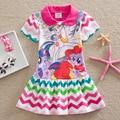 2016, Лето, Новый Принцесса Платье Девушки летом мультфильм маленький пони платье платье девушки дети с коротким рукавом платье
