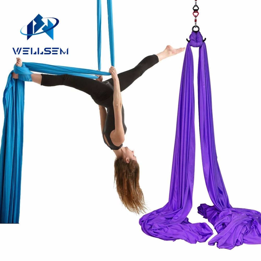 Wellsem 8 2x2 8M Aerial Silks Equipment Anti gravity Yoga Hammock Swing Yoga for Home Gymnastics