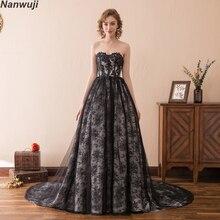 Real Photo Sweetheart  Aline Black Lace Evening Dress Luxury Slim Sleeveless Prom Dresses