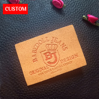 Factory Private Customzied PU Leather Embossed Labels Sewing On Clothes Handmade Leather Custom Clothing Labels Designs