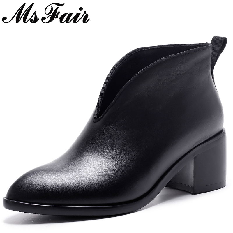 все цены на MsFair Pointed Toe High Heel Women Boots Genuine Leather Slip-On Ankle Boots Women Shoes Elegant Concise Ankle Boots Shoes Woman онлайн