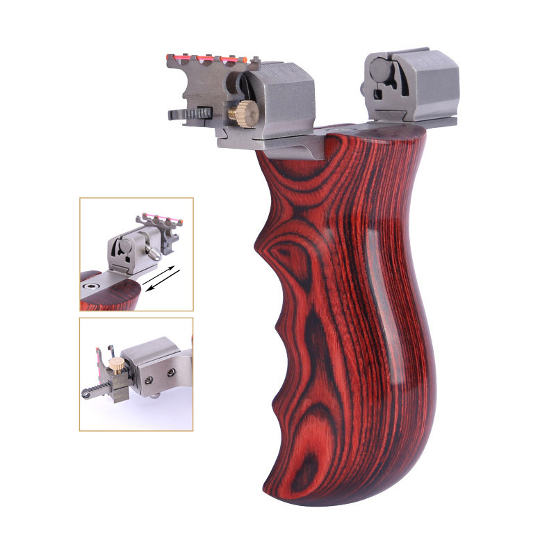 Slingshot Hunting Stainless Steel Catapult Adjustable Bow Head  Wood Short Handle Handheld  With Rubber Band Outdoor Shooting