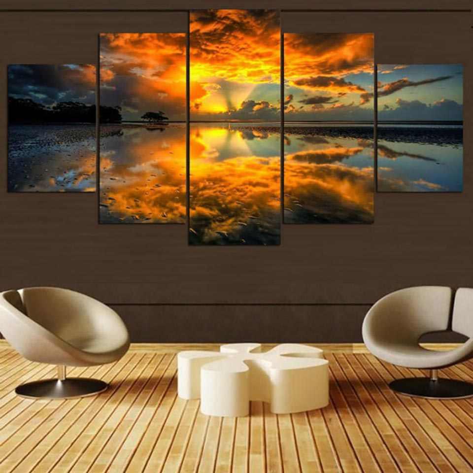 Trang trí nội thất Hoạt Cảnh Tường Ảnh Minh Họa Hình Ảnh Canvas 5 Bảng Điều Chỉnh Sunrise Tự Nhiên Cảnh Quan Hiện Đại HD Bức Tranh In Modular Áp Phích Nhà
