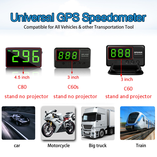 Aliexpress Cheapest GPS Speedometer Hud Display Car KM/h MPH C60 Car Electronics Better Than A100 A100s OBD Hud OBD2 Projector