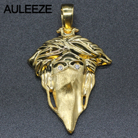 Unique Masked Head Design Pandant Trendy Solid 14K Yellow Gold Pandant Necklace Natural Real Diamond Jewelry
