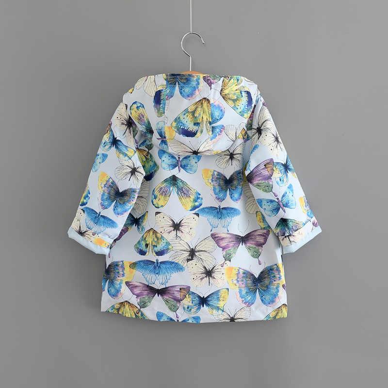 Nueva marca moda niños niñas Trench estilo europeo y americano mariposa impresión Unisex prendas de abrigo y abrigos para 1-7 años