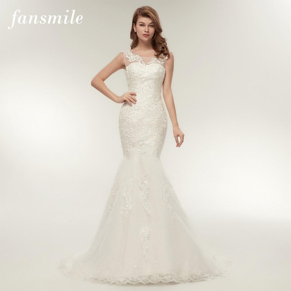 Fansmile Korean Vintage Lace Mermaid Wedding Dresses 2017