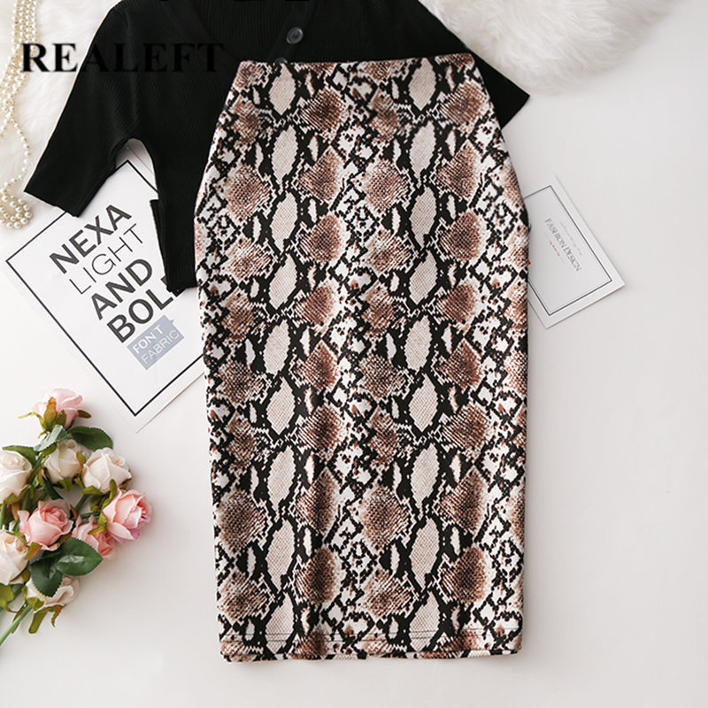 REALEFT 2020 Women Snake Printed Pencil Wrap Skirts New Arrival High Waist Knee-Length Bodycon Sheath Midi Skirts For Ladies