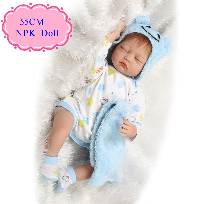 Retail 55cm 22inch Cheap Reborn Dolls Sleeping Reborn Doll With Comfortable Baby Doll Clothes Best Acompany Friend For Children pink wool coat doll clothes with belt for 18 american girl doll