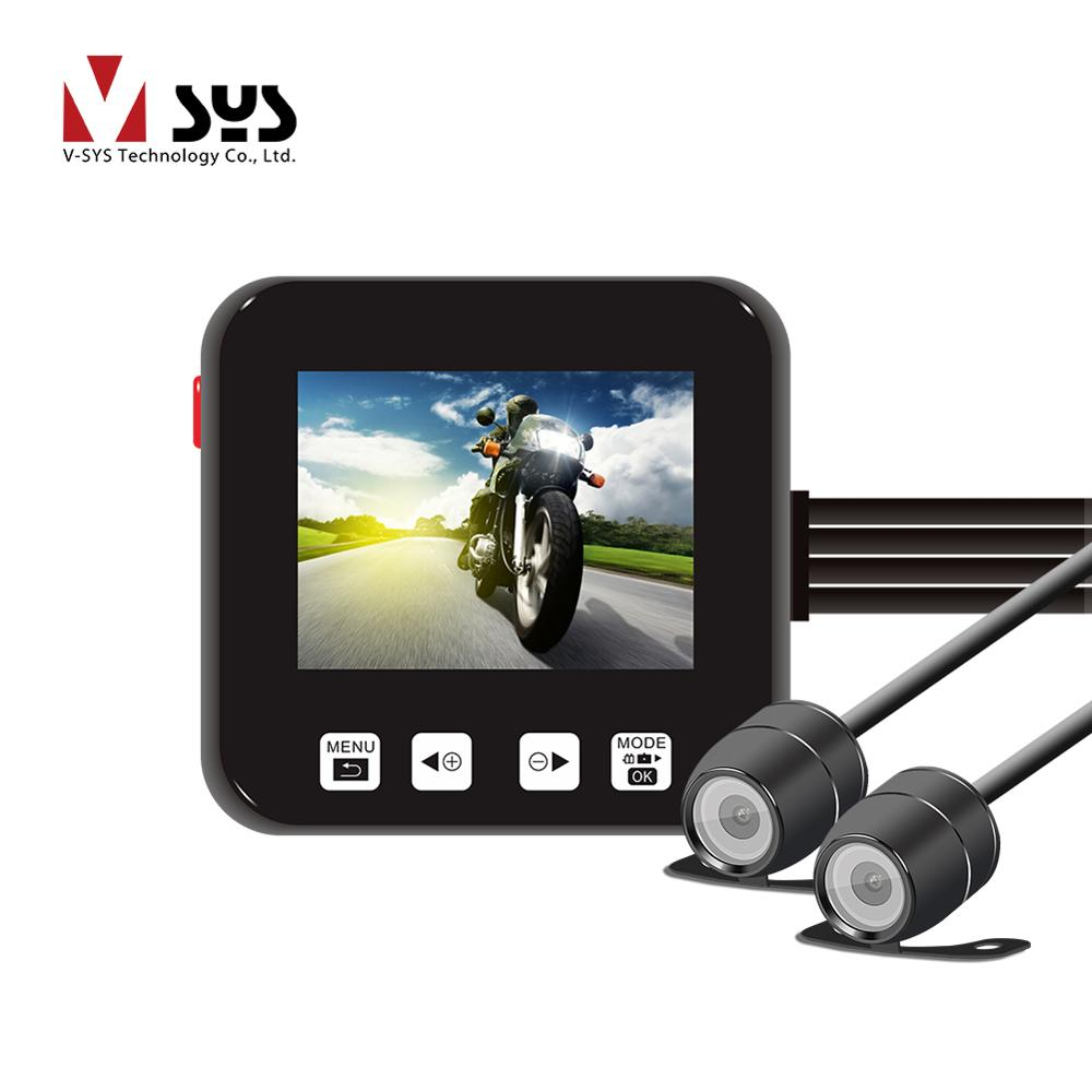 SYS VSYS C6 Dual Motorcycle Action Camera Recorder DVR Front and Rear View Waterproof Motorcycle Dash Cam Black Night Vision Box crash bar mt 09