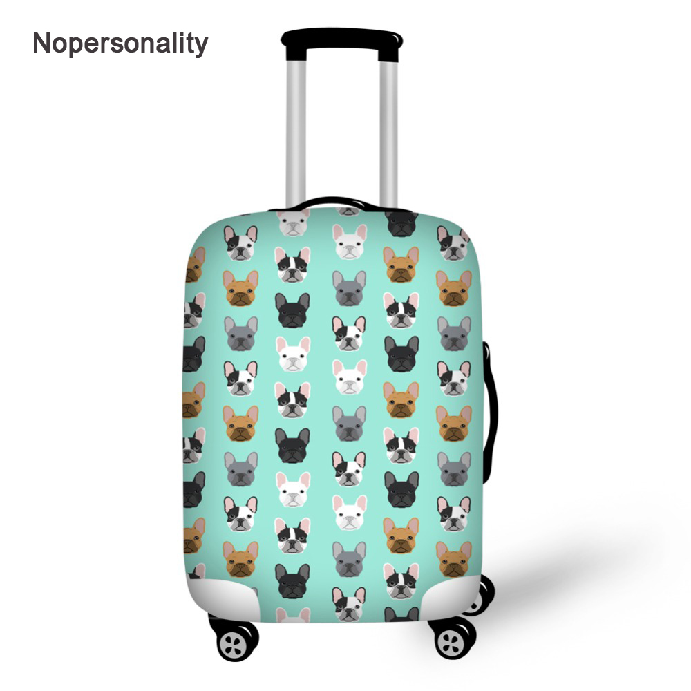 Nopersonlity Elastic Luggage Cover French Bulldog Print Travel Suitcase Cover Waterproof 18-30inch Luggage Protective Dust Cover
