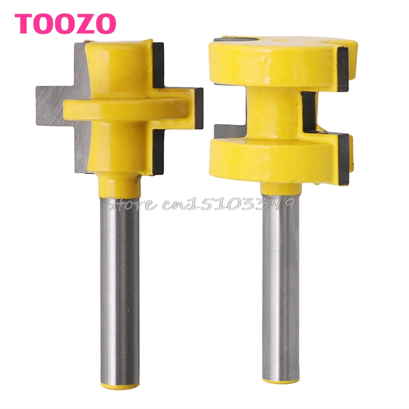 2Pcs 1/4'' Shank Tongue & Groove Router Cutter Tenon Line Bit Woodworking Tool #G205M# Best Quality 2 pcs tongue groove router bit 1 4 shank huge crown molding tenon line cutter