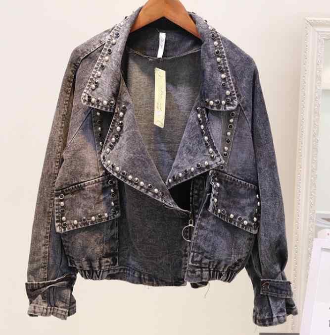 Джинсы хараюку куртка Женский пиджак модное базовое пальто Женская куртка бриллианты заклепки короткая джинсовая куртка для женщин Chaquetas Muje
