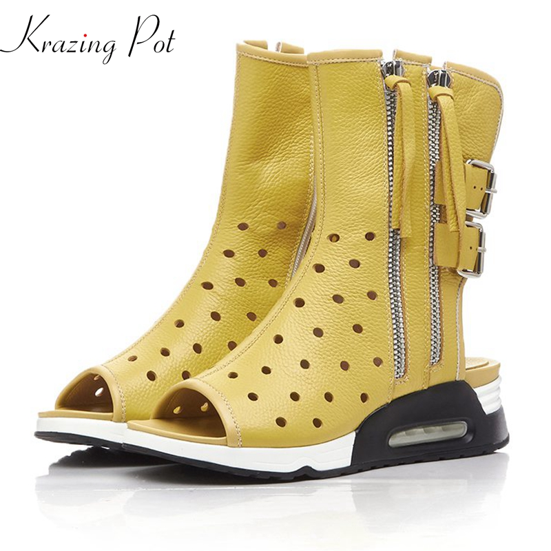 Krazing Pot 2018 genuine leather Autumn Summer boots wedges med heels peep toe breathable metal buckle leisure zipper shoes L29