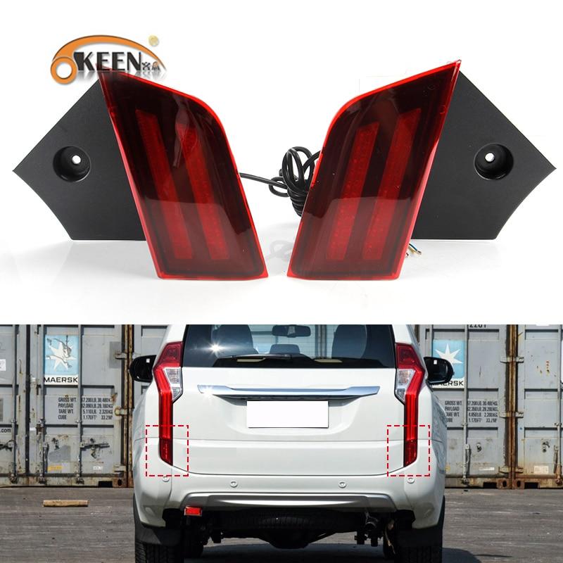 OKEEN 2pcs Car LED Rear Bumper Reflector Light For Mitsubishi Pajero Sport 2015 2016 2017 2018 Driving Brake Light Red Fog Lamps