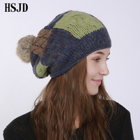 Winter Pompom ball Elastic Hip Hop Beanies hat Men Women New Patched Patchwork Knitted Stocking hats Male Female Snow Caps Gorro