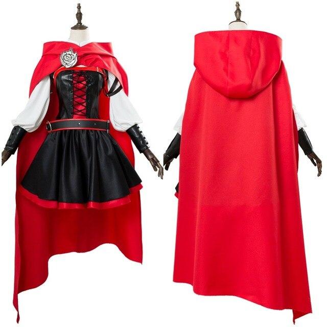 Ruby Rose Rwby Cosplay 3 Season Red Dress Cloak Battle Uniform