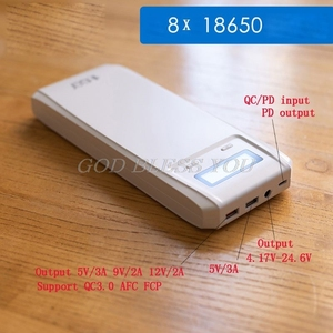 Image 3 - (No Battery) QD188 PD Dual USB QC 3.0 + Type C PD DC Output 8x 18650 Batteries DIY Power Bank Box Holder Case Fast Charger