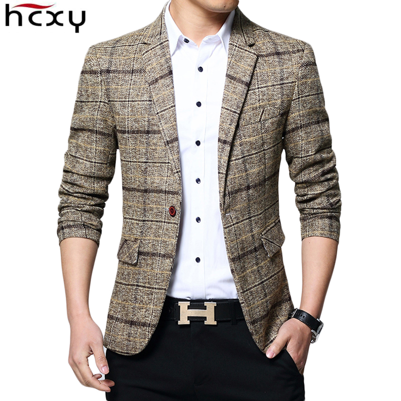 HCXY Jacket Men Blazer Clothing Suit Plaid Male Men's Casual Slim Fashion Brand Size-M-5xl