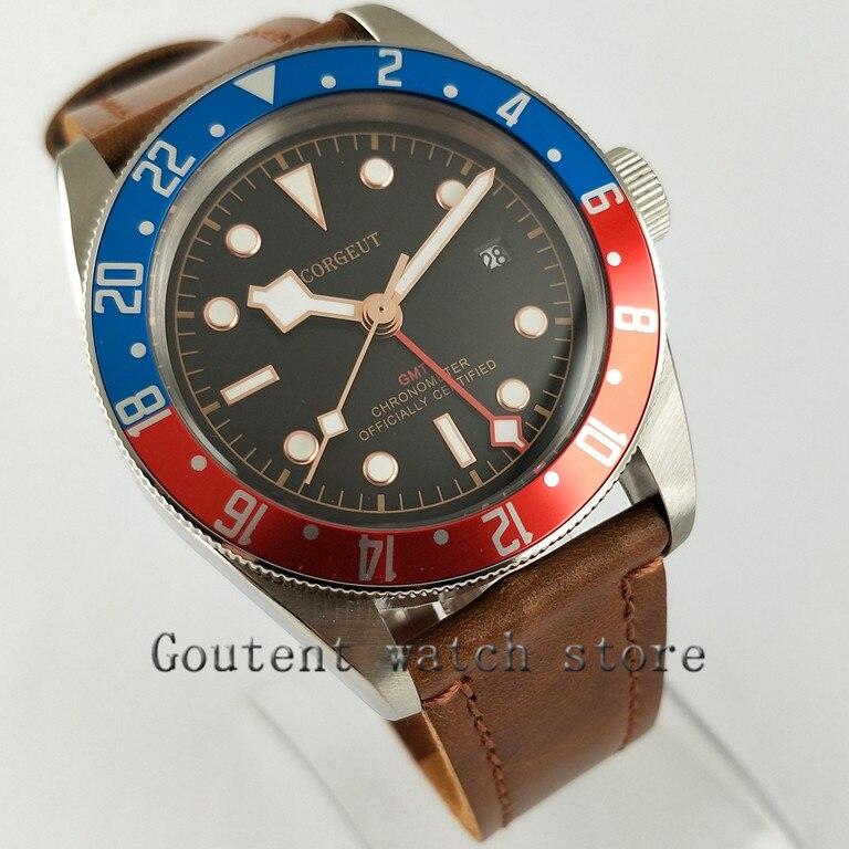 41mm Corgeut Schwarz Zifferblatt Bl Rote Lünette Gmt Sapphire Glas Automatische Herren Uhr