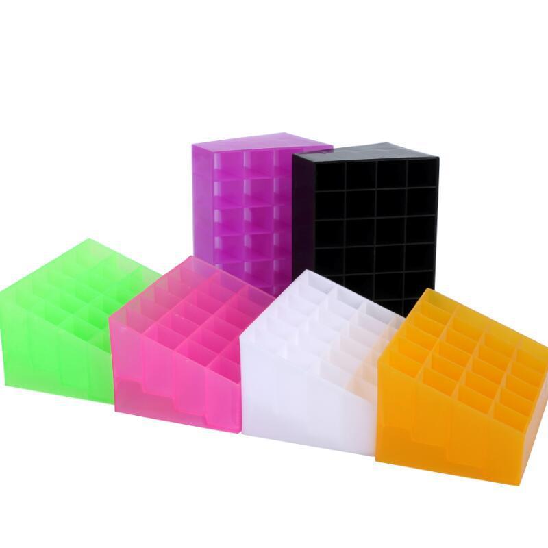 24 решетки Дисплей стенд косметики прозрачная коробка для хранения LK Рамки Губная помада стойки Дисплей стенд Макияж губ Цвет Макияж Инстру...