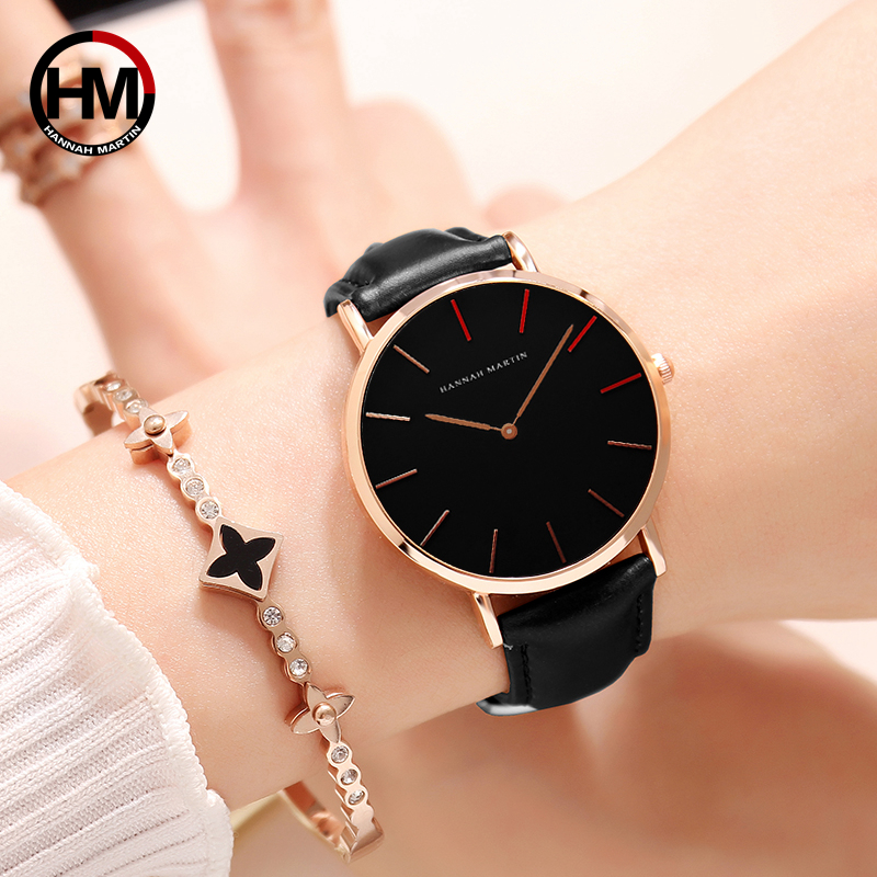 2018 Dropshipping Japan Quartz Movement Uhren Dame Creative Women Watch Clock luxury Black Leather Ladies Watch Reloj Mujer 36mm 网 红 小 姐姐