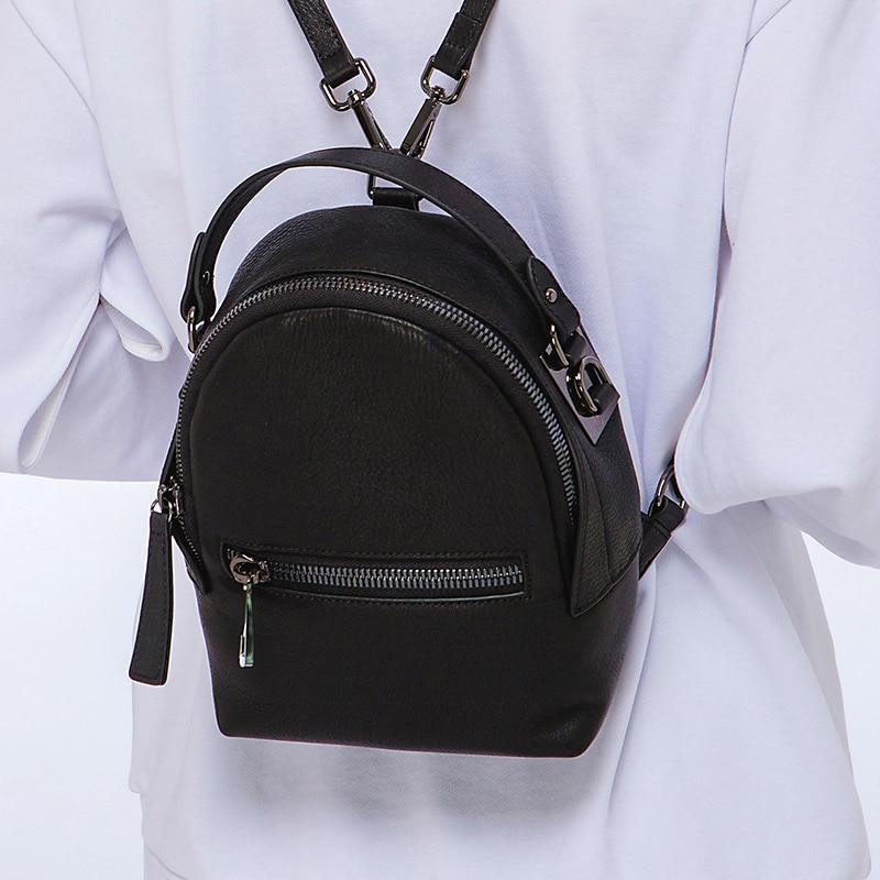KZNI Genuine Leather Mini School Backpack for Girls Backpack Black Leather Book Bag Girl Sac a Dos Femme 1446-1447 cajifuco casual genuine leather backpack black rivet lambskin large studded shoulder bag girl hasp school bag sac a main