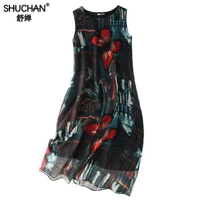 Shuchan Butterfly Print Natural Silk Dress Designer Women Dresses 2019 High Quality Straight Sleeveless Tank Dresses O-neck