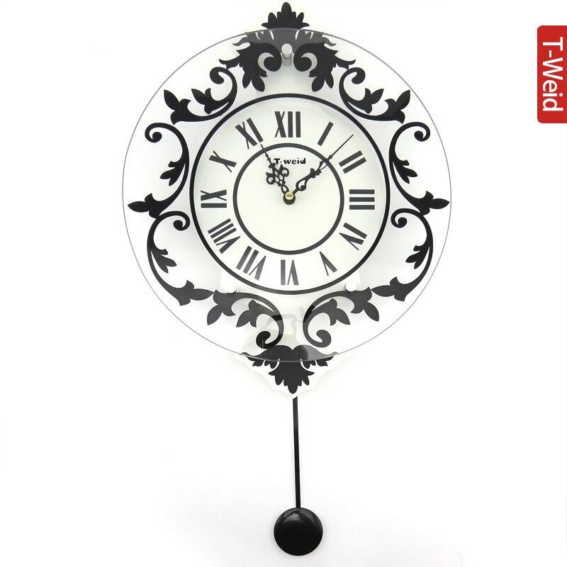 Continental hamac en bois grande taille horloge mode salon muet grande montre de poche en verre horloge murale suspendue décoration de table