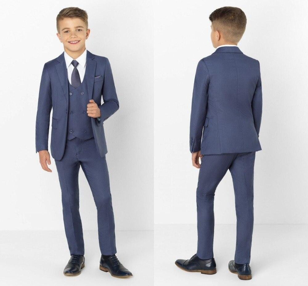 2019 Moda Ha Raggiunto Il Picco Risvolto Vestiti Dei Capretti Dei Bambini Di Modo Che Coprono L'insieme Del Ragazzo Formale Prom Abiti (jacket + Pants + Tie + Vest)