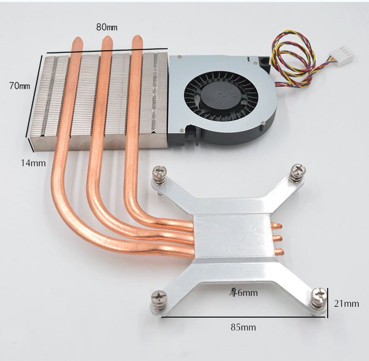 1001-03 With Fan Heat Radiator AIO Thermal Module 1U Ultra-thin 1150 1155 Radiator 8017 Fan Cooling Module Heat Pipe