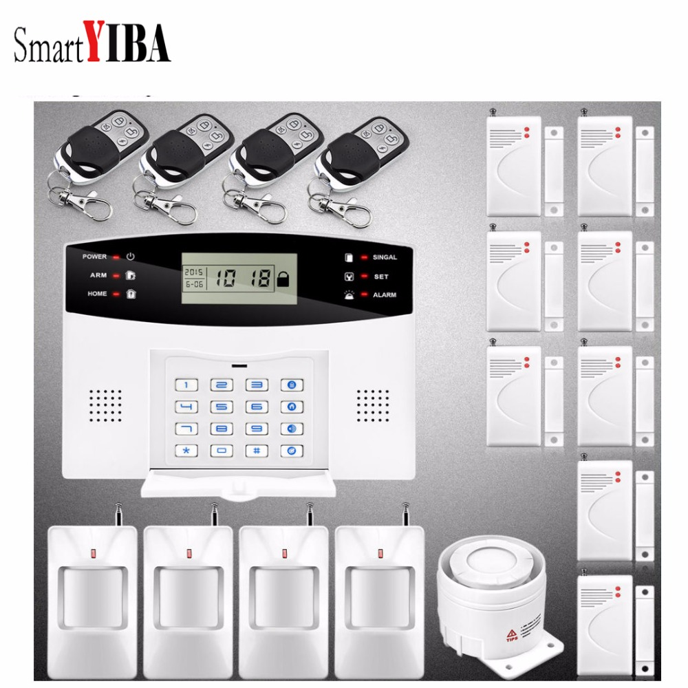 SmartYIBA Wireless GSM Alarm System 433MHz home Remote Control Wireless Door Sensor Burglar Security Alarm 433mhz security alarm mainframe kits security alarm system wireless door sensor remote control smoke detector for home security