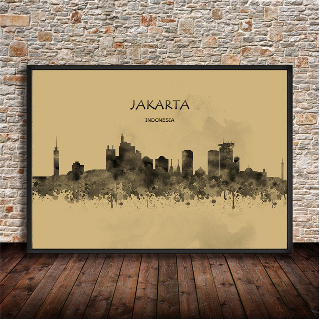 Abstract Watercolor World City JAKARTA Indonesia Krafts Paper ...