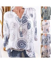 Large size womens shirt 2019 new V-neck long-sleeved large printed blouse S-5XL