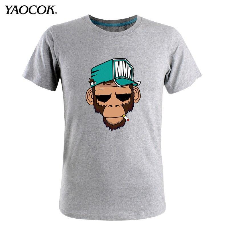 Дешевые 2015 новый летний мужской костюм тонкий мужской характер обезьяны печатных 3D мультфильм футболки пуловер хип-хоп футболка хлопок мужчины