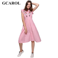 GCAROL Neue Ankunft Stickerei Hemd Kleid Sleeveless Rüschen Aushöhlen Heraus Frauen A-Line Striped Vintage Lange Kleid