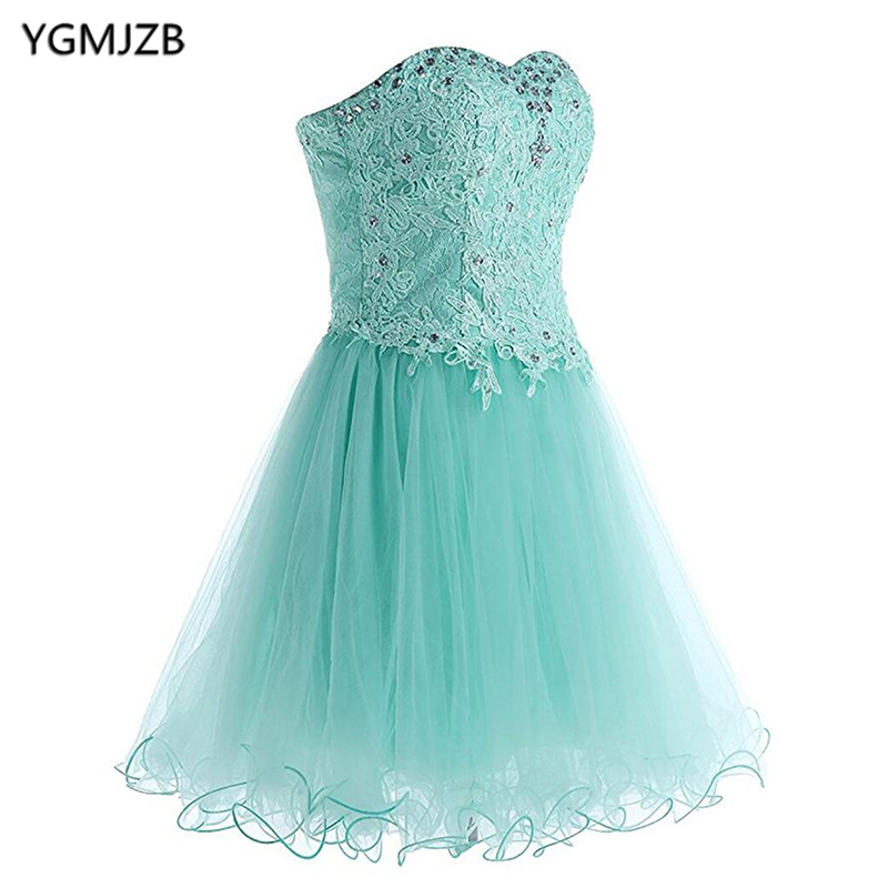Turquoise   Cocktail     Dresses   2018 A Line Strapless Lace Tulle Beaded Short Mini Prom Gown Homecoming   Dresses   Party   Dresses