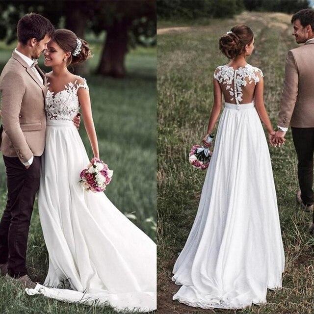 SoDigne Beach Lace Appliques Bride Dress New Cap-Sleeves Slit Side White Wedding Dresses 2020 Boho Bridal Gown vestido de noiva 1