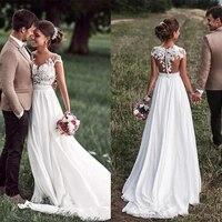 SoDigne Beach Lace Appliques Bride Dress New Cap Sleeves Slit Side White Wedding Dresses 2020 Boho Bridal Gown vestido de noiva