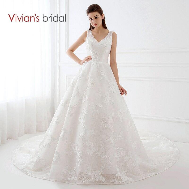 Vivian 39 s bridal simple design v neck sleeveless a line for Simple wedding dress design