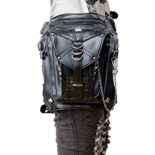 Steampunk Leather Leg Hip Bags Men's Belt Bags With Striped Fashion Goth Gothic Leather Waist Bag Female Pounch