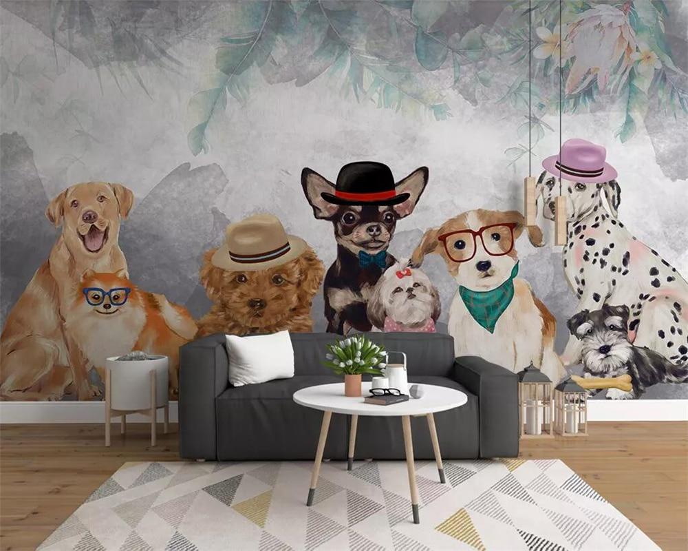 Beibehang Customized Wallpaper Modern Minimalist Cartoon Hand-painted Pet Puppy Personality Restaurant Pet Shop Background Wall